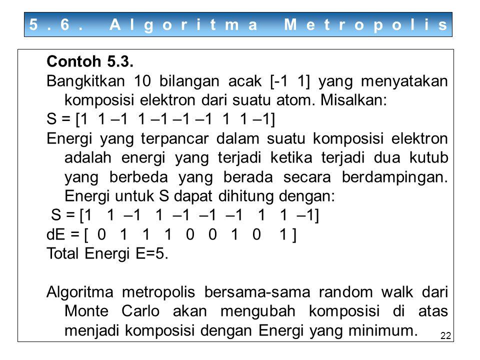 5.6. Algoritma Metropolis Contoh 5.3. Bangkitkan 10 bilangan acak [-1 1] yang menyatakan komposisi elektron dari suatu atom. Misalkan: